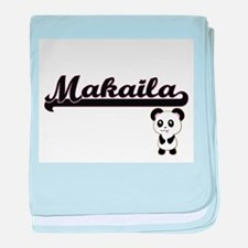 Makaila Classic Retro Name Design wit baby blanket