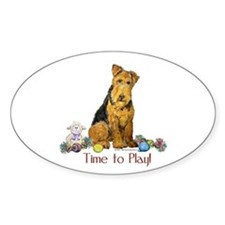 Welsh Terrier Playtime! Oval Decal