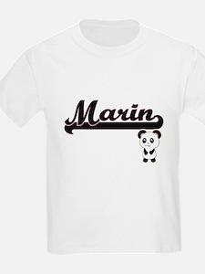 Marin Classic Retro Name Design with Panda T-Shirt