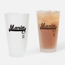 Marin Classic Retro Name Design wit Drinking Glass