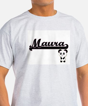 Maura Classic Retro Name Design with Panda T-Shirt