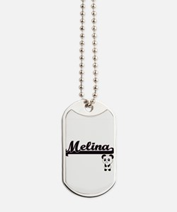 Melina Classic Retro Name Design with Pan Dog Tags