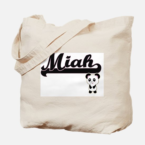 Miah Classic Retro Name Design with Panda Tote Bag