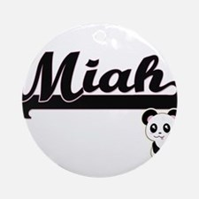 Miah Classic Retro Name Design wi Ornament (Round)