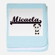 Micaela Classic Retro Name Design wit baby blanket