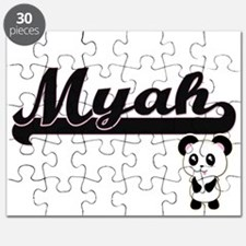 Myah Classic Retro Name Design with Panda Puzzle