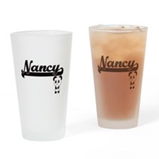 Nancy Classic Retro Name Design wit Drinking Glass