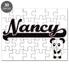 Nancy Classic Retro Name Design with Panda Puzzle