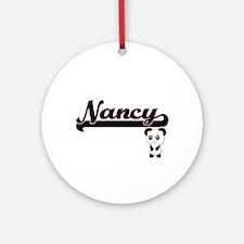 Nancy Classic Retro Name Design w Ornament (Round)