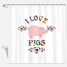 I Love Pigs Shower Curtain