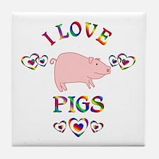 I Love Pigs Tile Coaster