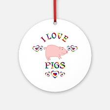 I Love Pigs Ornament (Round)