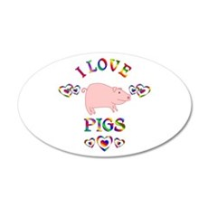 I Love Pigs Wall Decal