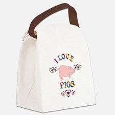 I Love Pigs Canvas Lunch Bag