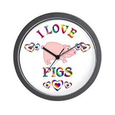 I Love Pigs Wall Clock