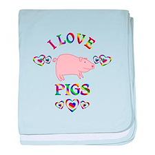 I Love Pigs baby blanket
