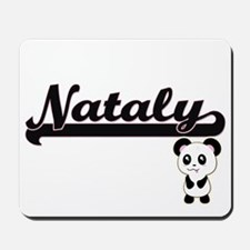 Nataly Classic Retro Name Design with Pa Mousepad