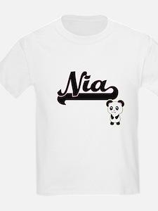 Nia Classic Retro Name Design with Panda T-Shirt
