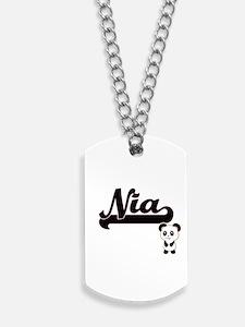 Nia Classic Retro Name Design with Panda Dog Tags