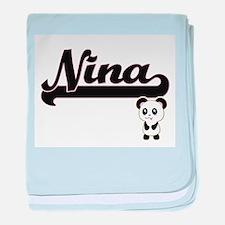 Nina Classic Retro Name Design with P baby blanket