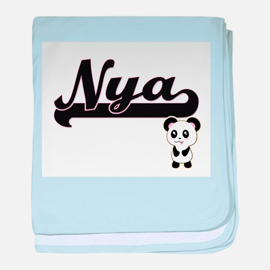 Nya Classic Retro Name Design with Pa baby blanket