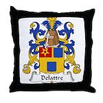 Delattre Family Crest Throw Pillow