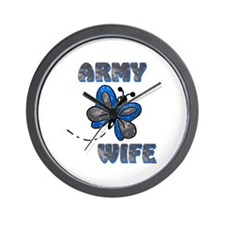 Army Wife Butterfly Blue Wall Clock