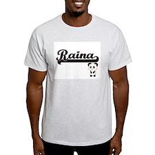 Raina Classic Retro Name Design with Panda T-Shirt