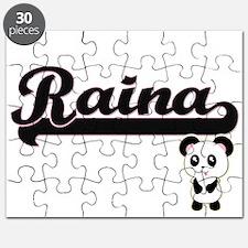 Raina Classic Retro Name Design with Panda Puzzle
