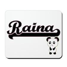 Raina Classic Retro Name Design with Pan Mousepad