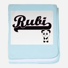 Rubi Classic Retro Name Design with P baby blanket