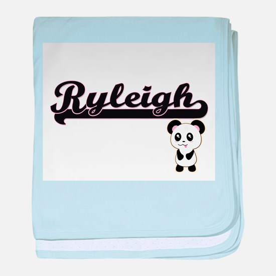 Ryleigh Classic Retro Name Design wit baby blanket