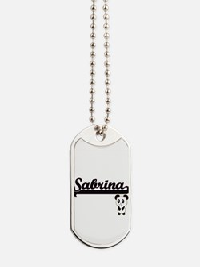 Sabrina Classic Retro Name Design with Pa Dog Tags
