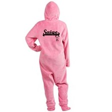 Saige Classic Retro Name Design wit Footed Pajamas