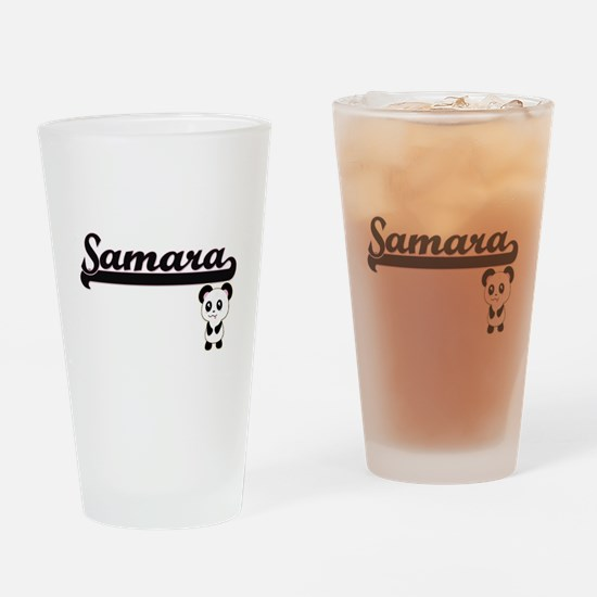 Samara Classic Retro Name Design wi Drinking Glass