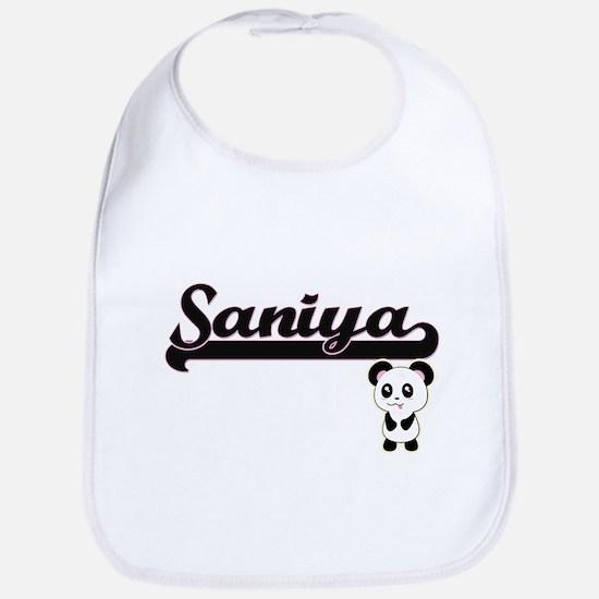 Saniya Classic Retro Name Design with Panda Bib