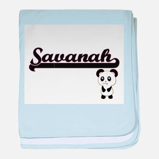 Savanah Classic Retro Name Design wit baby blanket