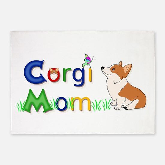 Corgi Mom 5'x7'area Rug