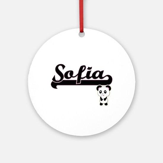 Sofia Classic Retro Name Design w Ornament (Round)