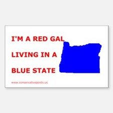 I'm a Red Gal From a Blue State Sticker - Oregon