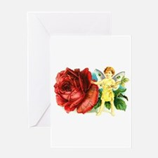 Fairy and Red Rose - Birthday Greeting Card