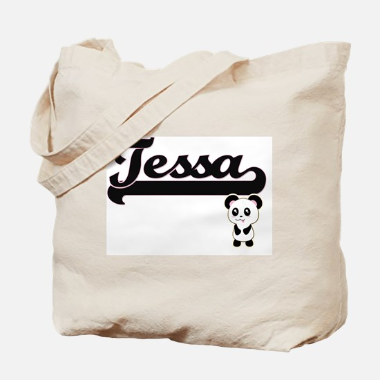 Tessa Classic Retro Name Design with Pand Tote Bag