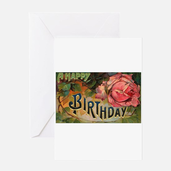 Victorian Birthday Rose Greeting Card