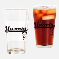 Yasmin Classic Retro Name Design wi Drinking Glass