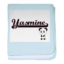 Yasmine Classic Retro Name Design wit baby blanket
