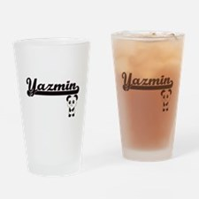 Yazmin Classic Retro Name Design wi Drinking Glass