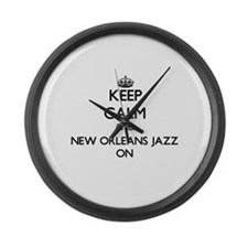 Keep Calm and New Orleans Jazz ON Large Wall Clock