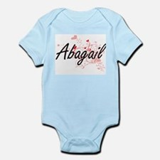 Abagail Artistic Name Design with Hearts Body Suit