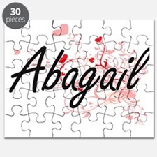 Abagail Artistic Name Design with Hearts Puzzle