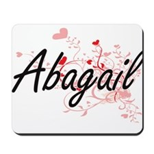 Abagail Artistic Name Design with Hearts Mousepad
